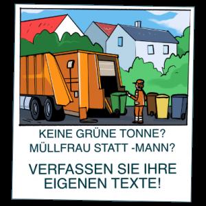 Ein gezeichnetes Bild einer Müllabfuhr welche Mülleimer abholt
