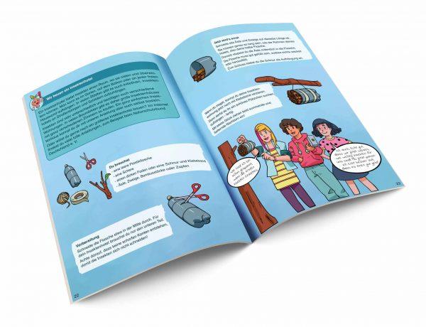 Aufgeschlagenes Heft mit einer Anleitung für ein Insektenhotel