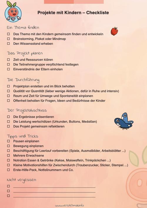 Checkliste für Projekte mit Kindern von der Vorbereitung bis zum Abschluss.