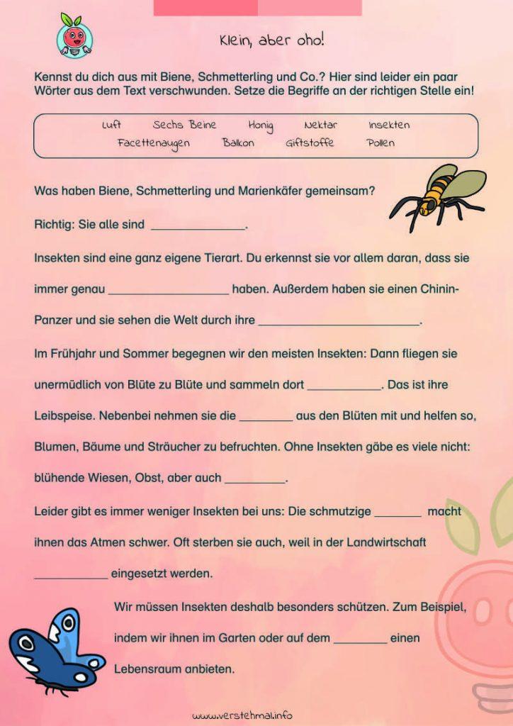 Kostenlose Arbeitsblätter zu Insekten
